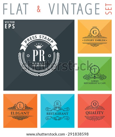 Vector flat and vintage elements icons. Signs and Symbols collection with long shadow effect in stylish colors of web design objects. Luxury logo calligraphic elegant decor with ornament - stock vector