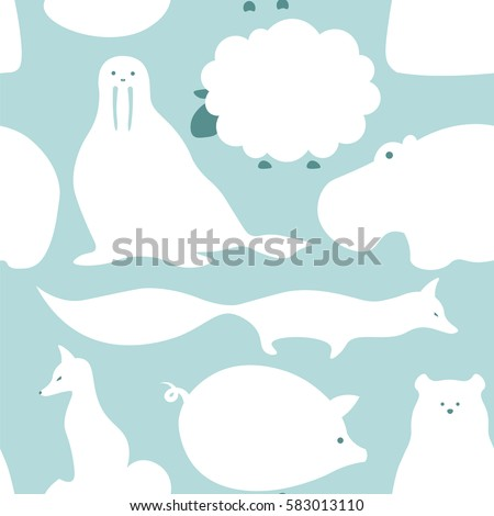 ... . Cute seamless pattern with fox, hippo, polar bear, pig and sheep