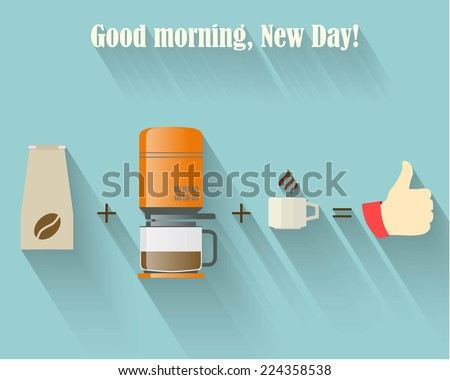 Vector Flat Background.Good Morning New Day - stock vector