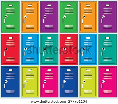 vector flat background of colorful school lockers - stock vector