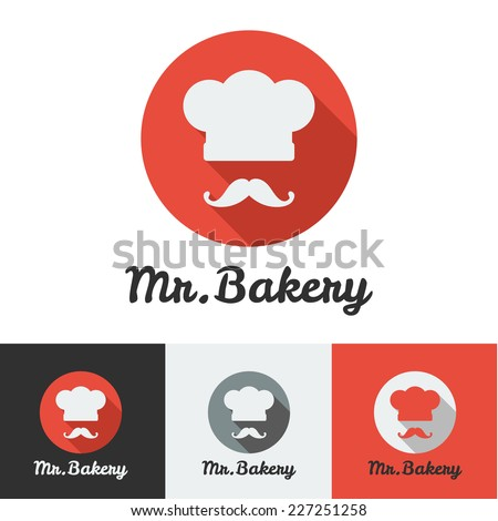 Vector flat bakery or restaurant minimalistic logo - stock vector