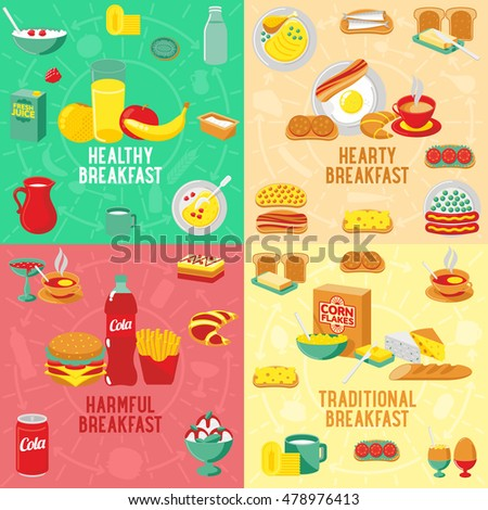 Vector flat banner HEARTY, TRADITIONAL, HARMFUL, HEALTHY breakfast, diet food. Web graphics, banners, advertisements, business templates, food menu