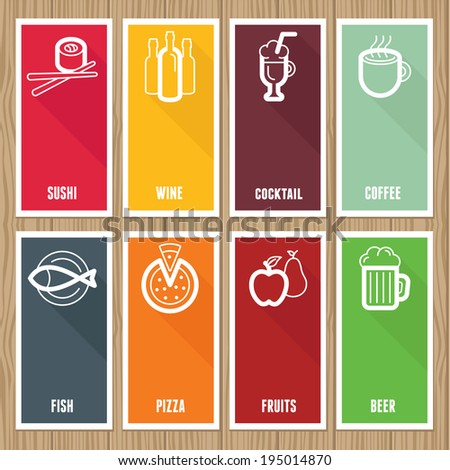 Vector flat banners with cafe and restaurant icons  on wooden background - stock vector