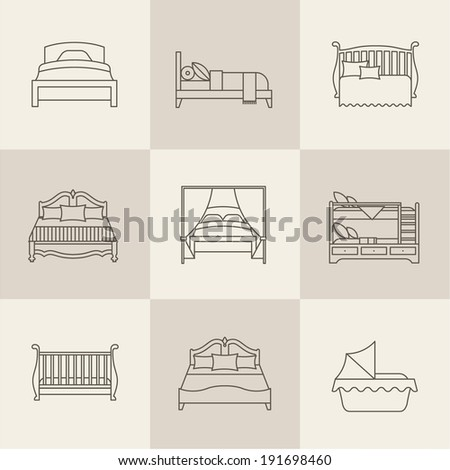 Vector flat bed icon set simple style - stock vector