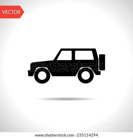 vector flat black icon of jeep. eps10 - stock vector