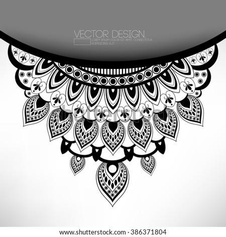 vector flat black mandala layout ornament illustration  - stock vector