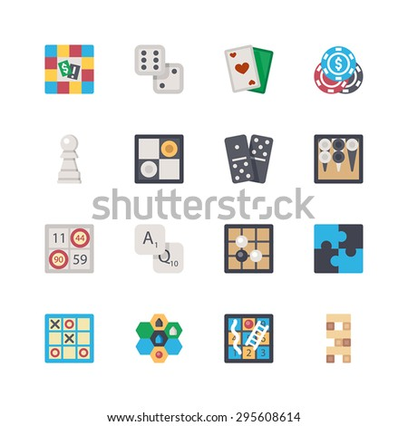 Vector flat board games set. Board game, dice, cards, poker, chess, checkers, dominoes, backgammon, bingo, letters, Go game, puzzle, tic-tac-toe, strategy, snakes and ladders, tower. - stock vector