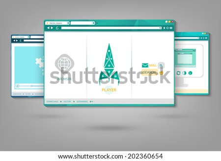vector flat browser design with responsive website template - stock vector