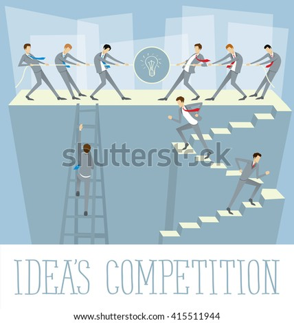 Vector flat business concept ideas competition - stock vector