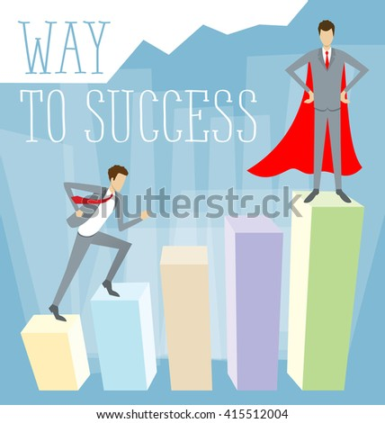 Vector flat business concept way to success - stock vector