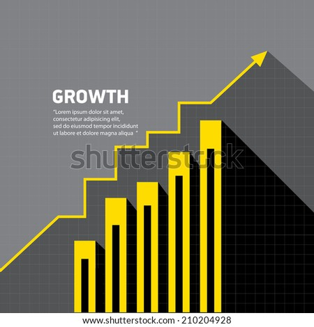 vector flat Business graph and chart on grey background. vector golden grow up arrow. - stock vector