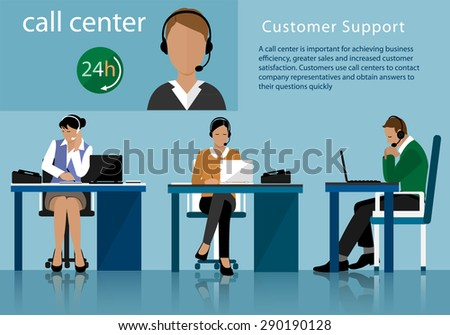 Vector flat call center concept with man and woman in headsets. Call centre operators working in line with their headsets in office   - stock vector