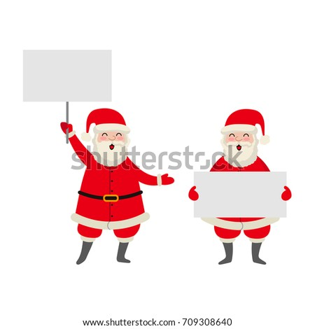 vector flat cartoon Santa Claus in red white clothing and hat keeping blank white paper, placard with free space for a text set. Illustration isolated on a white background. Christmas poster design