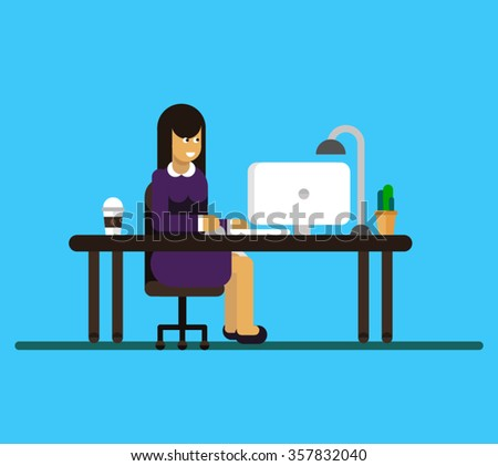 Vector flat character design on business woman working in office behind her desk with desktop computer and coffee in paper cup. Business woman using computer - stock vector