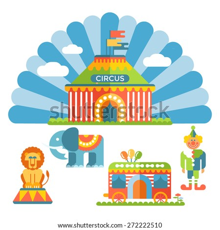 Vector flat circus and design elements; clown, lion, elephant and circus wagon.  - stock vector