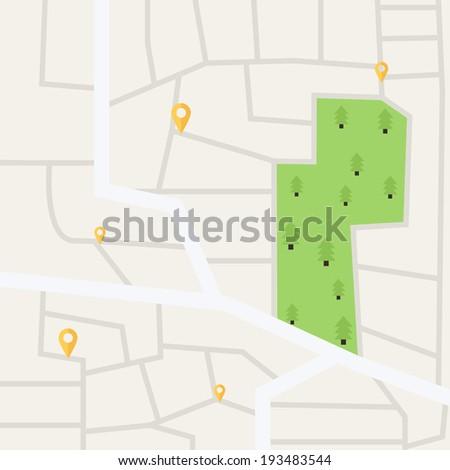 Vector flat city map - stock vector