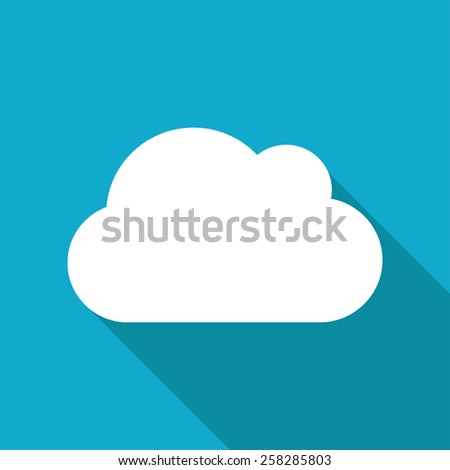 Vector flat cloud icon isolated on blue background. Eps10