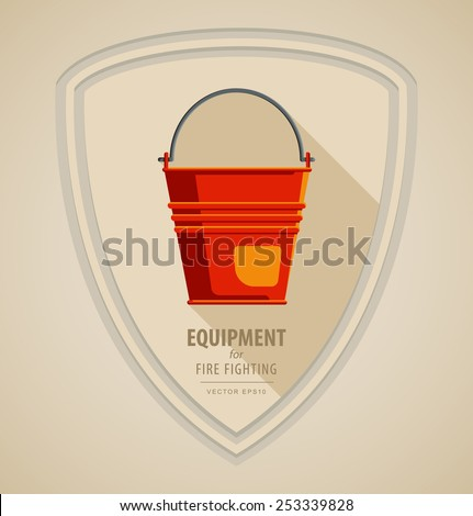 Vector flat color icon illustrations - equipment for firefighter or volunteer. Color image on black and white background in form emblem of the shield and axe. Yellow red Fire bucket - stock vector