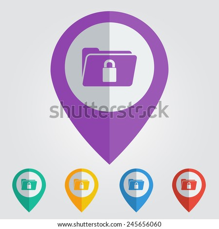Vector flat color pins with folder lock icon - stock vector