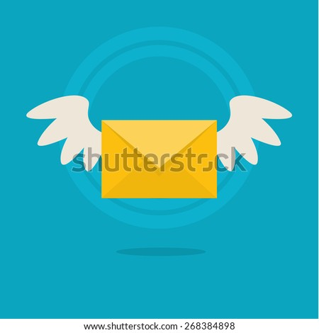 Vector flat colorful icon with fly letter or Short Message Service SMS. Messaging concept - stock vector