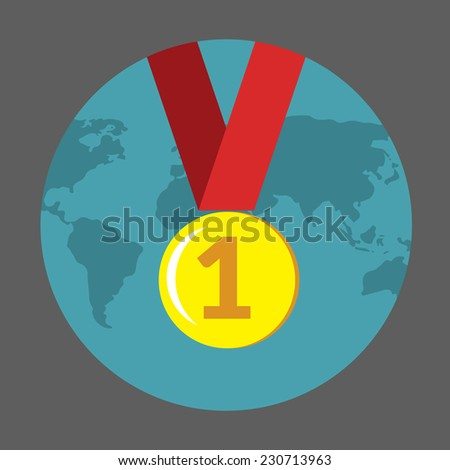Vector flat colorful icon with medal