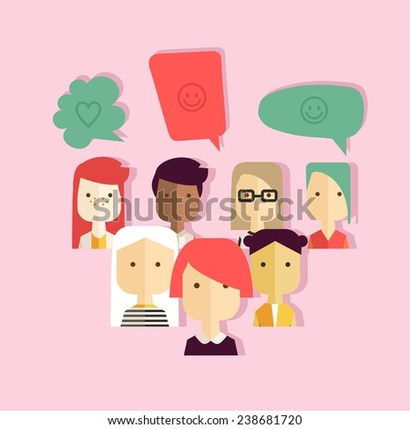 Vector flat colorful illustration with different girls and bubbles - stock vector