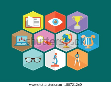 Vector flat composition of education's components - vector illustration - stock vector