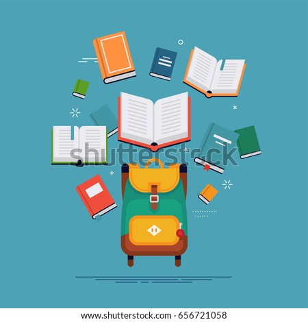 Vector flat concept design on school and education with backpack and books. Abstract studying background