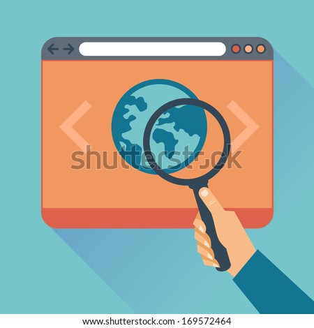 Vector Flat concept - icons of website code optimization and web programming process - vector modern illustration - stock vector