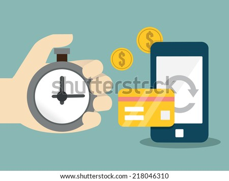 Vector flat concept of mobile banking and online payment - vector illustration - stock vector