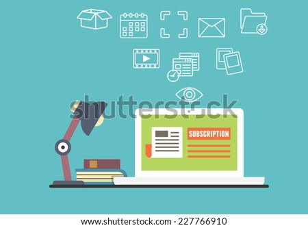 Vector flat concept of personal electronic subscription with different capabilities - vector illustration - stock vector