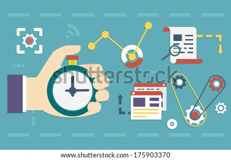 Vector flat concept of process social media business and marketing. Startup, business planning and results - vector illustration - stock vector
