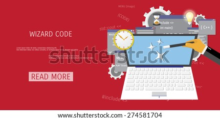 Vector flat concept of programming and coding.