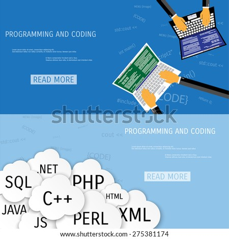 Vector flat concept of programming and coding. Network technology. Search engine optimization. Internet and global communication. Concepts for web banners and promotional materials. - stock vector