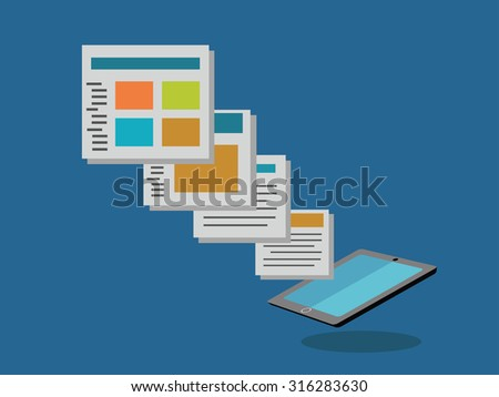 Vector flat concept of regularly distributed news publication via e-mail. Subscriptions as business model - vector illustration - stock vector