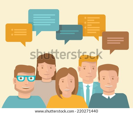 Vector flat concept - teamwork and brainstorming - business icons - stock vector