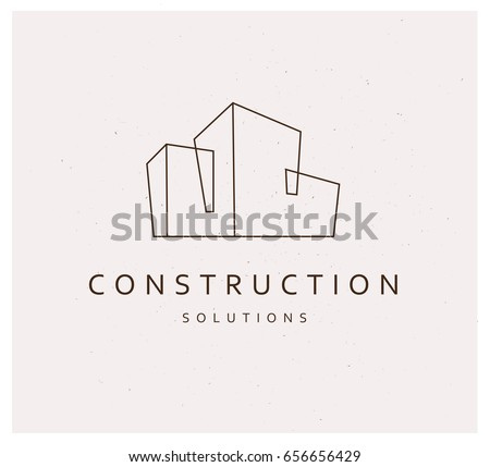 vector flat construction company brand design stock vector