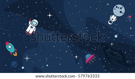 Vector flat cosmos design background. Cute template with Astronaut, Spaceship, Rocket, Moon, Black Hole, Stars in Outer space