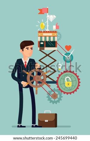 Vector flat creative concept design on effective management in business expansion digital and social media marketing leadership optimization smart solutions reaching the top fast growing development - stock vector