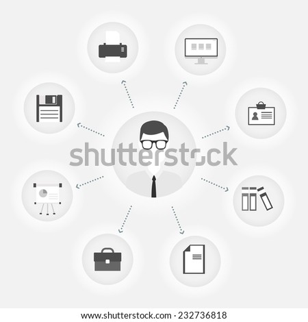 Vector flat customer office concept - icons and infographic design elements - client experience - stock vector