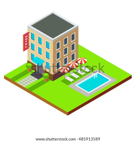 Vector Flat 3d Isometric Hotel Building Stock Vector