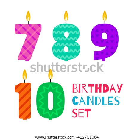 Vector flat design birthday candle set in the shape of numbers 7, 8, 9, 10. Burning colorful candles for the cake with different patterns in flat style. For anniversary party invitation, decoration. - stock vector
