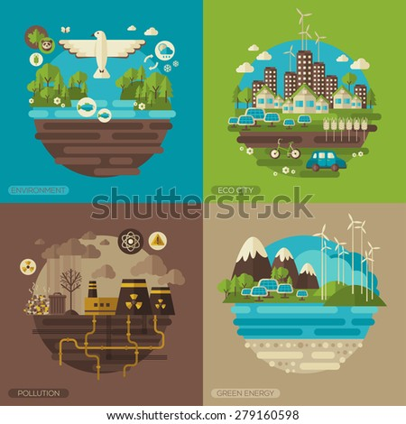 Vector flat design concept illustrations with icons of ecology, environment, green energy and pollution.  Save world. Save the planet. Save the Earth. Creative concept of Eco Technology. - stock vector