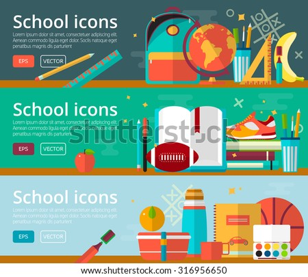 Vector flat design concepts of education. Horizontal banners with school items. Back to school concepts for web and promotional materials. Education school icons set.  - stock vector