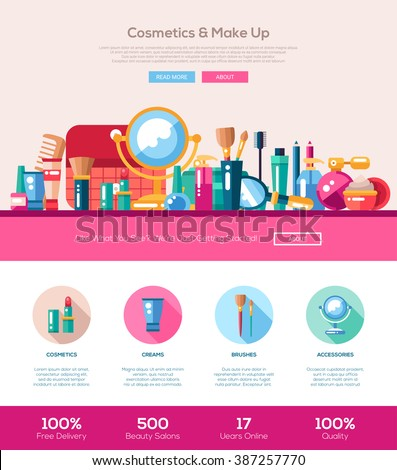 Vector flat design cosmetics, make up website template with header, banner, icons webdesign elements  - stock vector