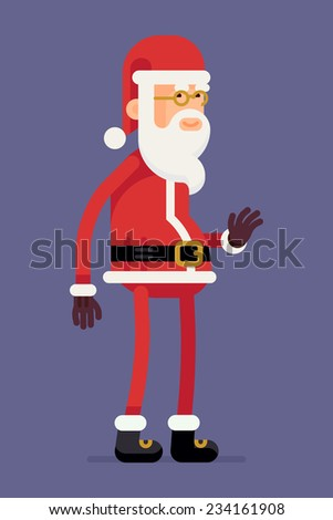 Vector flat design creative christmas smiling Santa Claus character standing waving hand, full length, isolated - stock vector