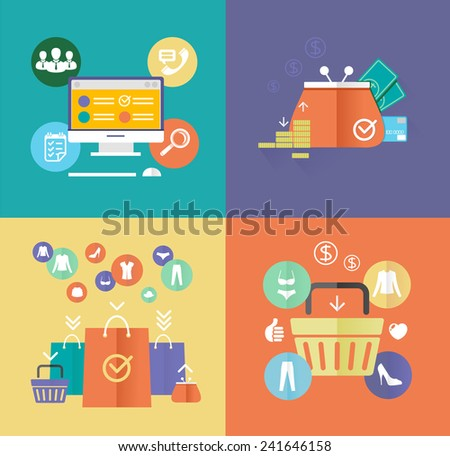 Vector flat design digital marketing concept card. Internet shopping elements and objects - stock vector