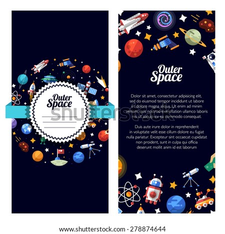 Vector flat design flyer of space icons and infographics elements - stock vector