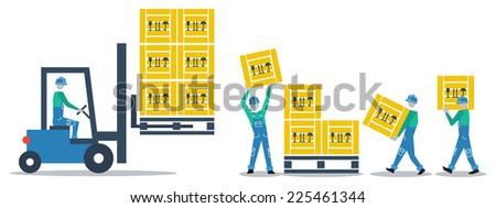 vector flat design goods loading truck - stock vector