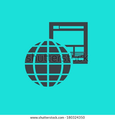 vector flat design icon of off page factors with globe and website for web design and seo search engine optimization infographic pictogram isolated on green background - stock vector